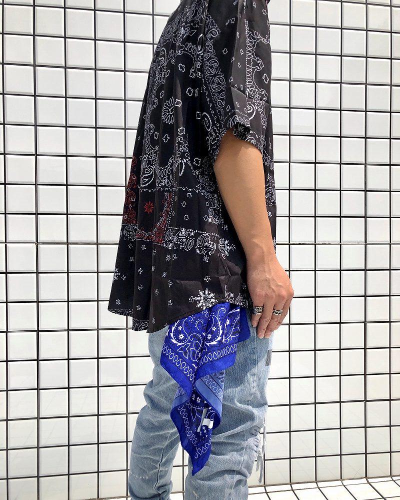 ドロップショルダーパッチワークバンダナ柄ペイズリー半袖シャツの画像3